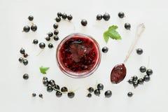 Marmelade der schwarzen Johannisbeere im Glas Lizenzfreie Stockfotografie