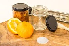 Marmelade en ingrediënten Stock Foto's