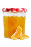 Marmelade jar with fruit Royalty Free Stock Photography
