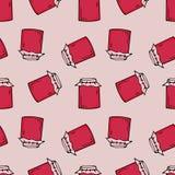 Marmeladentopfmuster Hand gezeichnete Abbildung Helle Karikaturillustration für Kartendesign, -gewebe und -tapete stock abbildung