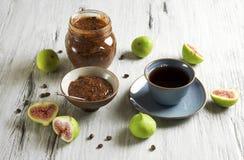 Marmellata d'arance del caffè e del fico Fotografie Stock