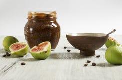 Marmellata d'arance del caffè e del fico Immagini Stock Libere da Diritti