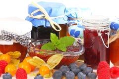 Marmellata d'arance, inceppamento e gelatina Fotografie Stock Libere da Diritti