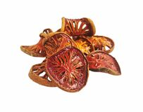 Marmelos secos de Aegle aislados Fotografía de archivo libre de regalías