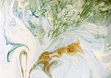 Marmer blauwe, groene en gouden abstracte achtergrond Vloeibaar marmeren patroon Royalty-vrije Stock Fotografie