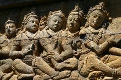 Marmer op de muur in Borobudur Royalty-vrije Stock Fotografie