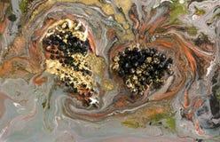 Marmeren abstracte acrylachtergrond De donkere textuur van het marmeringskunstwerk Het patroon van de agaatrimpeling Gouden poede Royalty-vrije Stock Afbeeldingen