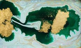 Marmeren abstracte acrylachtergrond De textuur van het marmeringskunstwerk Het patroon van de agaatrimpeling Gouden poeder royalty-vrije stock fotografie