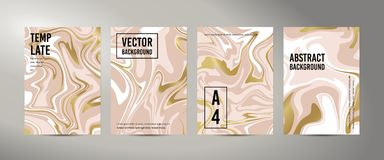 Marmeren Abstracte Roze Gouden Witte Achtergrond Vectortextuur van de Vloeibare verf Malplaatje voor huwelijk, uitnodigingen vector illustratie