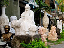 Marmeren Aziatische beeldhouwwerken Stock Foto's