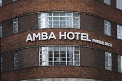 Marmeren Boog, Londen, het UK, 7 Februari 2019, Amba-de Hotelbouw stock afbeelding