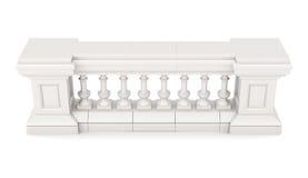 Marmeren die balustrade op witte achtergrond wordt geïsoleerd het 3d teruggeven Royalty-vrije Stock Afbeelding
