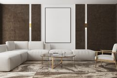 Marmeren en bruine woonkamer, affiche Royalty-vrije Stock Foto