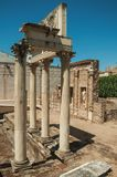 Marmeren kolommen en standbeelden van Roman Forum-de bouw in Merida stock foto