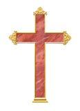 Marmeren kruis met gouden kader Stock Foto's