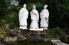 Marmeren standbeeld van Chinese oude poëzie drie Stock Afbeelding