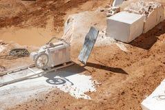 Marmeren steengroevemachine voor marmer Stock Foto