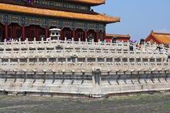 Marmeren treden in de Verboden Stad in Peking, China Royalty-vrije Stock Foto's