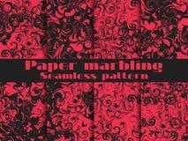 Marmerende naadloze patroonreeks Marmerdocument waterverf Het trekken op het water De texturen van Grunge Vector Royalty-vrije Stock Afbeelding