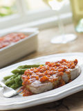 Marmitako Tuna Steak with Asparagus Stock Photography