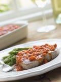 Marmitako Tuna Steak With Asparagus Stock Photography