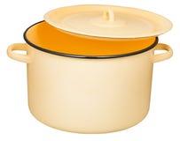 Marmite à bouillon classique d'émail avec la couverture légèrement entrebâillée photographie stock