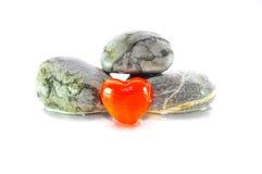 Marmo e Zen Stone del cuore Immagini Stock Libere da Diritti