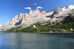 Marmolada and Fedaia lake Royalty Free Stock Image