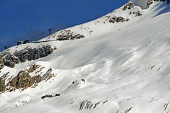 Marmolada glacier covered with dirty snow Royalty Free Stock Photography