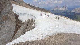 Marmolada, Italië Landschap aan de gletsjer en aan het Dolomiet tijdens de zomertijd stock foto