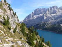 Marmolada, Lago di Fedaia. Sunny day in Italian Dolomites Royalty Free Stock Images