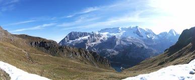 Marmolada, Lago di Fedaia. Sunny day in Italian Dolomites Stock Photo