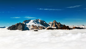 Marmolada - mountain peak emerges from the clouds Royalty Free Stock Photography
