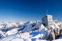 At the Marmolada slopes at sunny winter day Stock Photography