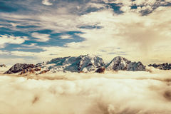Marmolada summit in Dolomites in winter royalty free stock photo