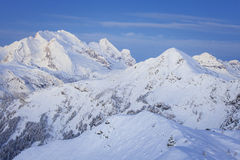 Marmolada summit in Dolomites in winter Royalty Free Stock Image