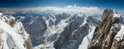 Marmolada view. View from the top of mountain Mamolada in Italy Stock Images