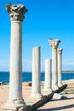 Marmor fördärvar av gammalgrekiskatemplet Arkivbild