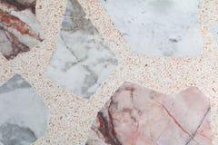 Marmor mönstrat texturTerrazzogolv, polerad sten Arkivbild