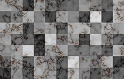 Marmor som textureras med geometriska fyrkantiga kvarter för lutning Naturliga svarta och guld- virvlar och krusningar på grå fär royaltyfri illustrationer