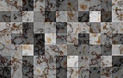 Marmor som textureras med geometriska fyrkantiga kvarter för lutning Naturliga svarta och guld- virvlar och krusningar på grå fär royaltyfria foton