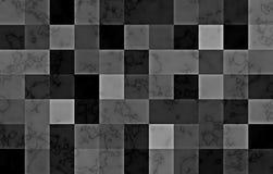 Marmor som textureras med geometriska fyrkantiga kvarter för lutning Naturliga svarta och silvervirvlar och krusningar på grå bak stock illustrationer