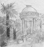Marmor-summerhouse und Palmen Lizenzfreies Stockfoto