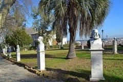 Marmorbüstehelden von Garibaldi beim Gianicolo parken, Janiculum-Hügel, Rom Lizenzfreies Stockfoto