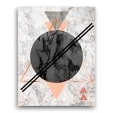Marmorbakgrund med trianglar Geometriskt tryck för ditt kort, royaltyfri fotografi