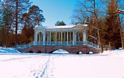 Marmorbron i parkera av Tsarskoye Selo Fotografering för Bildbyråer