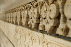 Marmorcarvings auf Moschee Taj Mahal, Agra, Indien stockfotografie