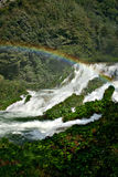Marmore waterfalls. Rainbow at waterfall of the marmore in italy Stock Images
