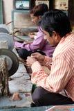 Marmoreinlegearbeit in Agra Stockbilder
