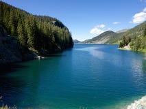 Marmorera湖在瑞士 免版税库存照片